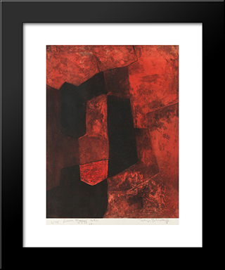Composition Brune Et Rouge: Modern Black Framed Art Print by Serge Poliakoff
