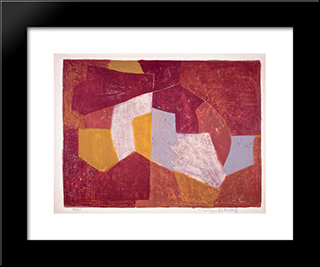 Composition Carmin, Brune, Jaune Et Grise: Modern Black Framed Art Print by Serge Poliakoff