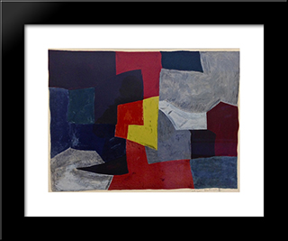 Composition Grise, Rouge Et Jaune: Modern Black Framed Art Print by Serge Poliakoff