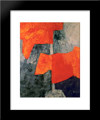Composition Grise Et Rouge: Modern Black Framed Art Print by Serge Poliakoff