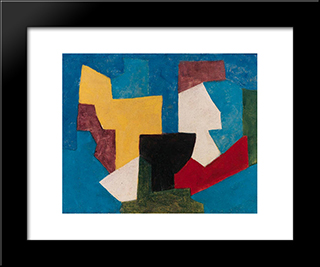 Composition Multicolore A Dominante Bleue: Modern Black Framed Art Print by Serge Poliakoff