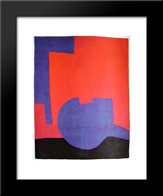 Composition Rouge: Modern Black Framed Art Print by Serge Poliakoff