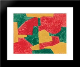 Composition Verte, Rouge Et Jaune: Modern Black Framed Art Print by Serge Poliakoff