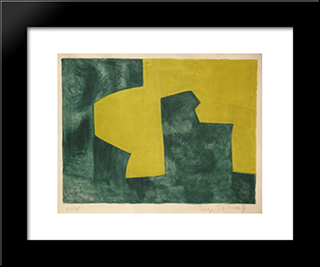 Composition Verte Et Jaune: Modern Black Framed Art Print by Serge Poliakoff