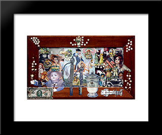 Elections At Puppets: Modern Black Framed Art Print by Sergei Parajanov