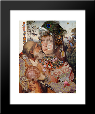 Repentance.Variation On Themes By Pinturicchio And Raphael.(Dedicated To Vasily Katanyan): Modern Black Framed Art Print by Sergei Parajanov