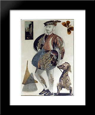 Self - Portrait In Gothic Style: Modern Black Framed Art Print by Sergei Parajanov