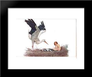 Blessed Be The House Where A Stork Nested: Modern Black Framed Art Print by Sergey Solomko