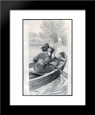 Couple In The Boat: Modern Black Framed Art Print by Sergey Solomko
