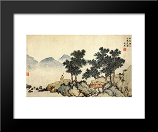 Falling Flowers: Modern Black Framed Art Print by Shen Zhou