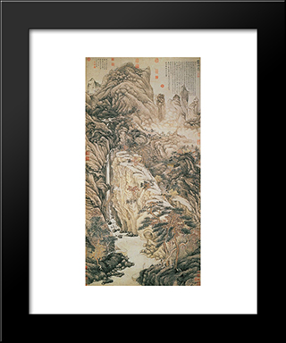 Lofty Mount Lu: Modern Black Framed Art Print by Shen Zhou