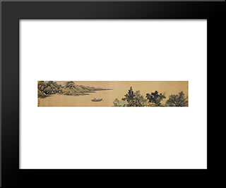 Parting At The Jing River: Modern Black Framed Art Print by Shen Zhou