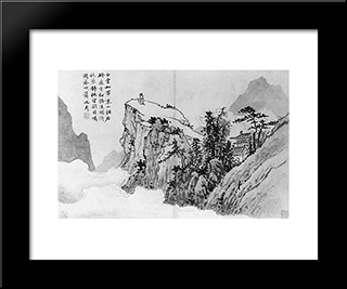 Poet On A Mountaintop: Modern Black Framed Art Print by Shen Zhou