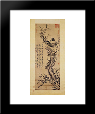 Two Crows In A Tree: Modern Black Framed Art Print by Shen Zhou