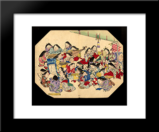 A Comic Pusuits Of Ladies: Modern Black Framed Art Print by Shibata Zeshin