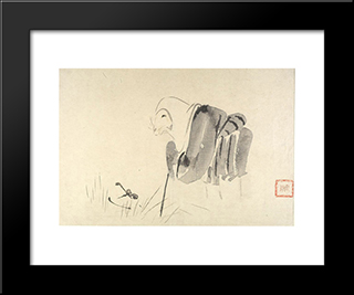 A Mouse As A Monk: Modern Black Framed Art Print by Shibata Zeshin