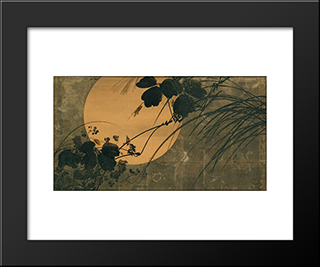 Autumn Grasses In Moonlight: Modern Black Framed Art Print by Shibata Zeshin