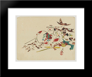 Bird Toys: Modern Black Framed Art Print by Shibata Zeshin