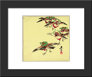 Birds In Festival: Modern Black Framed Art Print by Shibata Zeshin