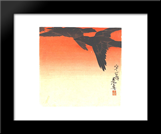Crows Fly By Red Sky At Sunset: Modern Black Framed Art Print by Shibata Zeshin