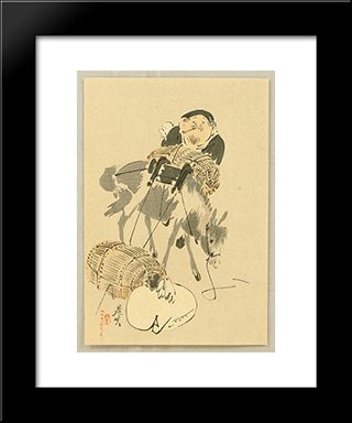 Daikoku And Mouse: Modern Black Framed Art Print by Shibata Zeshin