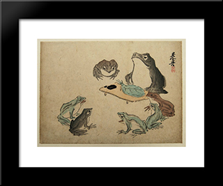 Frogs: Modern Black Framed Art Print by Shibata Zeshin