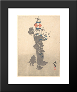 Lighting A Hanging Lantern For The Obon Festival: Modern Black Framed Art Print by Shibata Zeshin