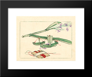 Model Boat - Hana Kurabe: Modern Black Framed Art Print by Shibata Zeshin