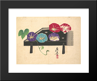 Morning Glories: Modern Black Framed Art Print by Shibata Zeshin