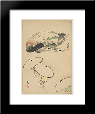 Pheasantthree Men With Umbrellas: Modern Black Framed Art Print by Shibata Zeshin