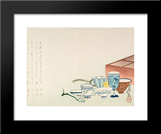 Porcelain Cups: Modern Black Framed Art Print by Shibata Zeshin