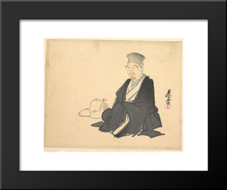 Portrait Of Rikyu: Modern Black Framed Art Print by Shibata Zeshin