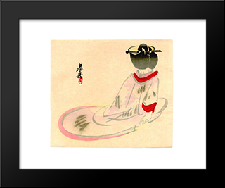 Sitting Lady: Modern Black Framed Art Print by Shibata Zeshin