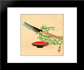Still Life: Modern Black Framed Art Print by Shibata Zeshin