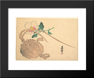 Straw Basket For Fish And Mokuge Flower: Modern Black Framed Art Print by Shibata Zeshin