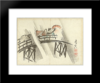 Sudden Shower: Modern Black Framed Art Print by Shibata Zeshin