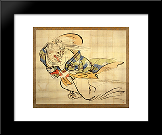 The Ibaraki Demon Snatches Back Her Arm: Modern Black Framed Art Print by Shibata Zeshin