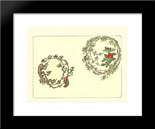Two Wreaths - Comparison Of Flowers: Modern Black Framed Art Print by Shibata Zeshin