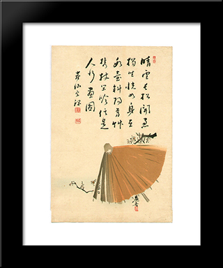 Umbrella And Plum: Modern Black Framed Art Print by Shibata Zeshin