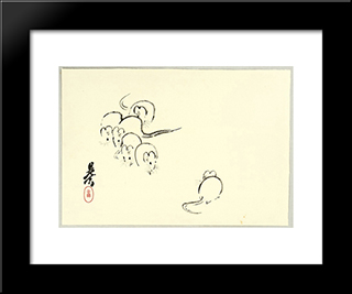 White Rats: Modern Black Framed Art Print by Shibata Zeshin