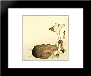 Wild Mushrooms: Modern Black Framed Art Print by Shibata Zeshin