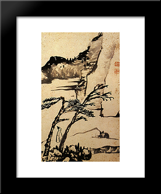 A Friend Of Solitary Trees: Modern Black Framed Art Print by Shitao