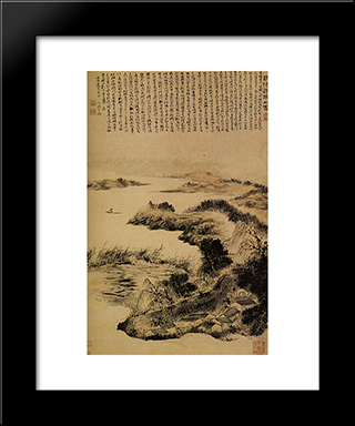 Autumn On The Outskirts Of Yangzhou: Modern Black Framed Art Print by Shitao