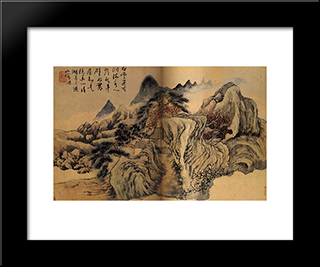 Autumn The Mountain: Modern Black Framed Art Print by Shitao