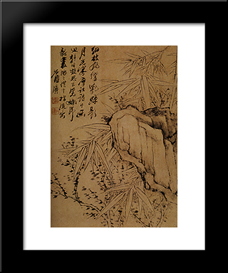 Bamboo And Rock: Modern Black Framed Art Print by Shitao