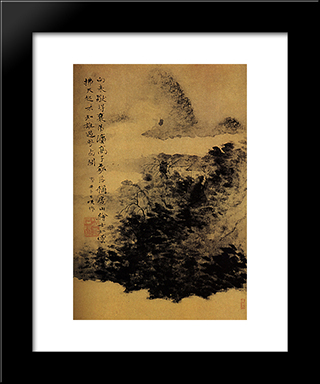 Between Mountain And River, Not Far From Mount Huang: Modern Black Framed Art Print by Shitao