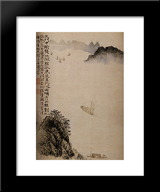 Boats To The Door: Modern Black Framed Art Print by Shitao