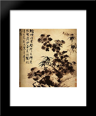 Chrysanthemums And Bamboo: Modern Black Framed Art Print by Shitao