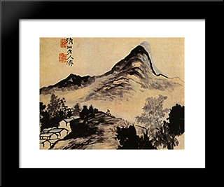 Conversation With The Mountain: Modern Black Framed Art Print by Shitao