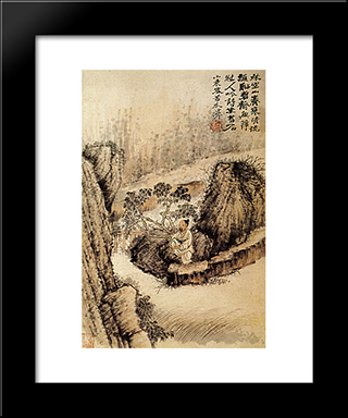 Crouched At The Edge Of The Water: Modern Black Framed Art Print by Shitao